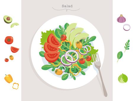 Salad and vegetables Various