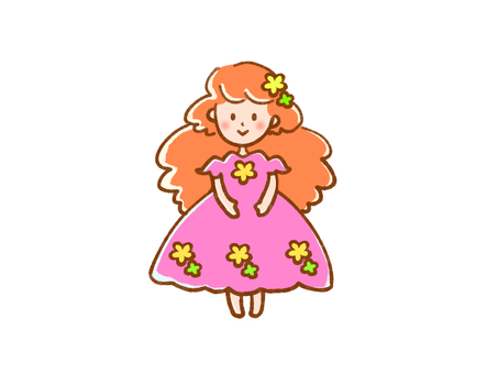 Pink girl in a dress