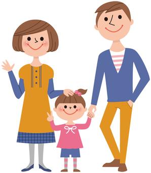 三個人(爸爸,媽媽,女孩)