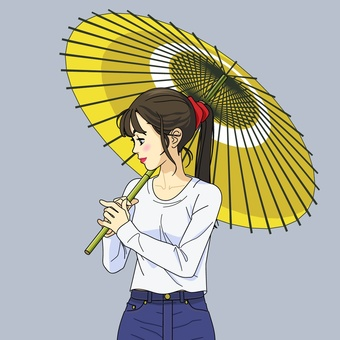 Image of a woman holding a Japanese umbrella - 001 A