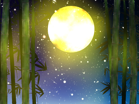 Full moon and bamboo