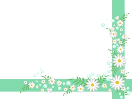 White flower line frame