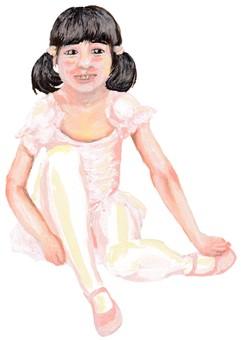 準備上芭蕾舞課的女孩