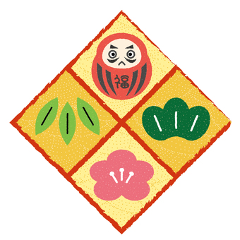 Daruma and Shochiku Mei (patterned)