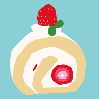 Food 23_ Roll cake _ strawberry_ sweets