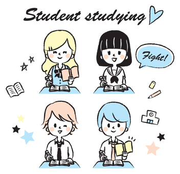 공부하는 학생의 일러스트 세트
