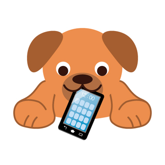 A dog biting a mobile phone