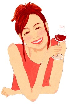 Tipsy woman with red wine