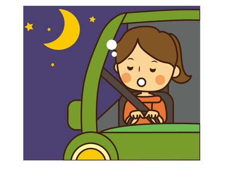 Woman driving asleep