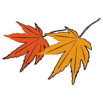Autumn leaves (Momiji) brush painting