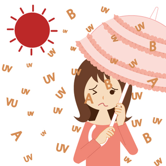 A woman and housewife taking measures against ultraviolet rays