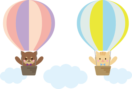 A dog and a cat on a balloon