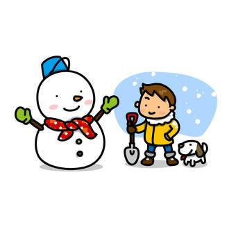 雪年輕和男孩的插圖