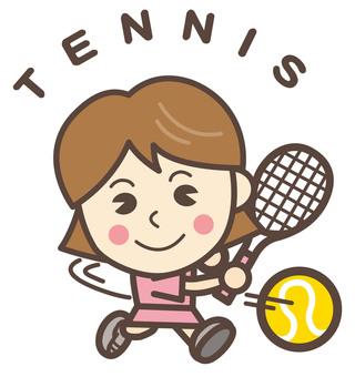 Rigid tennis (TENNIS) forehand woman