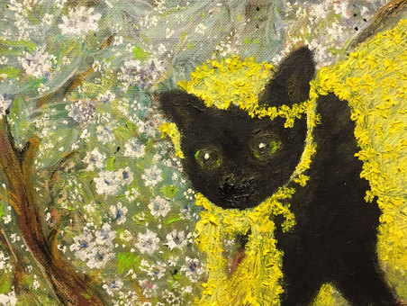 Black cat oil painting 4