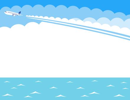 비행운과 바다의 프레임 (하늘색)