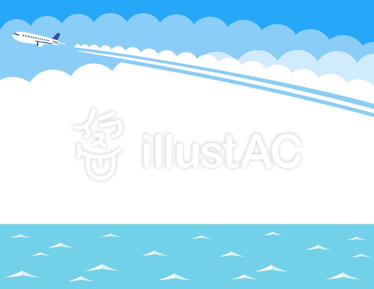 飛行機雲と海のフレーム水色イラスト No 1051204無料イラストなら
