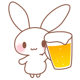 Illustration cut of beer and rabbit ②