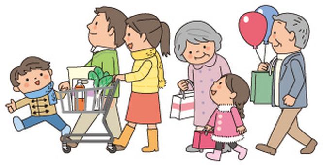 Families shopping 6 people
