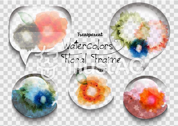 透明感あるガラスの花フレームのイラスト
