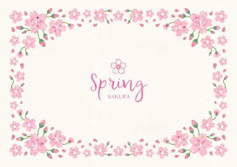 Spring background frame 008 Sakura watercolor