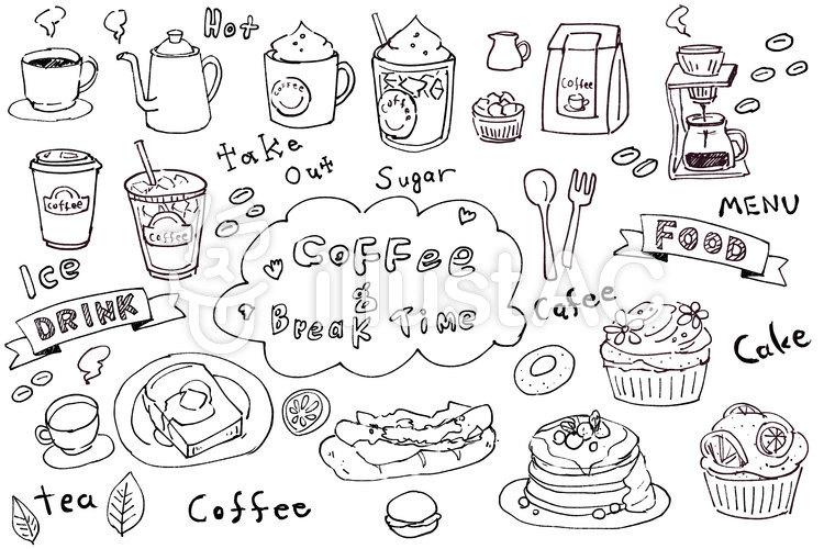 手描きのカフェイラスト詰め合わせイラスト No 906339無料イラスト