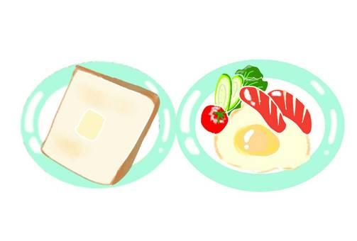 아침 식사 토스트 계란 후라이