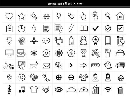 70 simple line drawing icons set