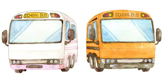 2 school buses