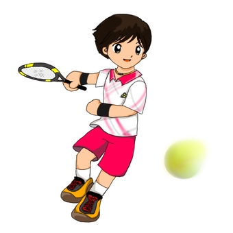 A boy playing tennis