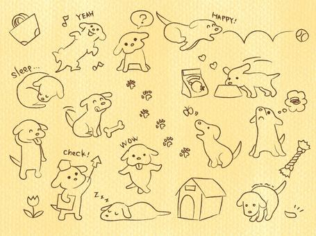 Scribble-style dog set