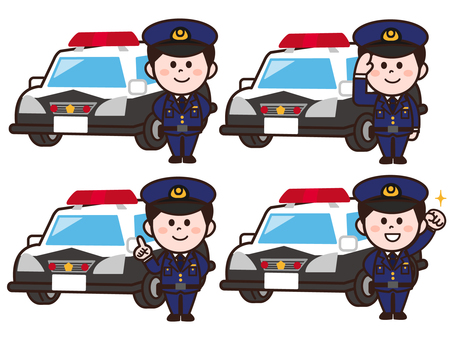 Police car and policeman set