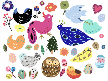 Scandinavian style colorful bird