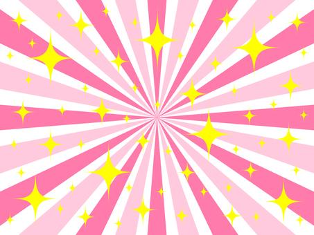 キラキラ放射線 ピンク色