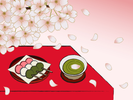 Japanese style Japanese confectionery store Sakura and three color dumpling