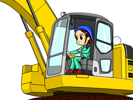 Woman driving an excavator