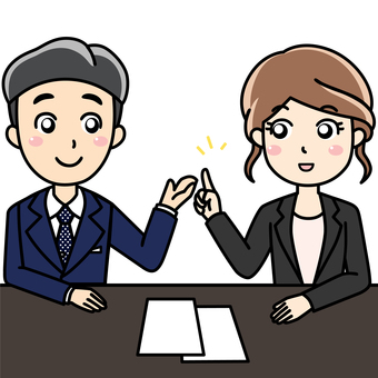 Male female office worker - Conversation, consultation, conference with a smile