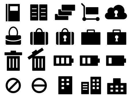Icons for bags, buildings, shopping carts, etc.
