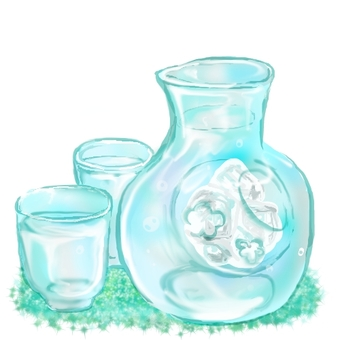 Cold sake and jug