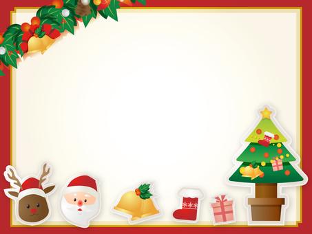 산타와 순록 장식 프레임