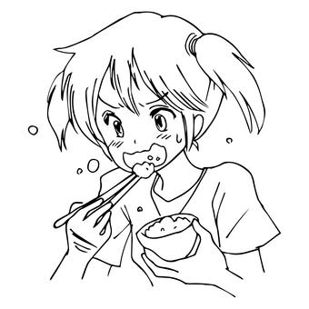 一個趕緊吃飯的女孩