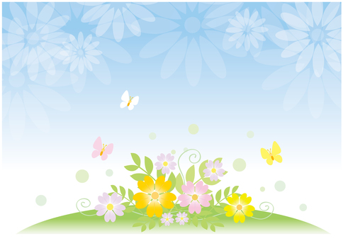 Blue sky and flower background