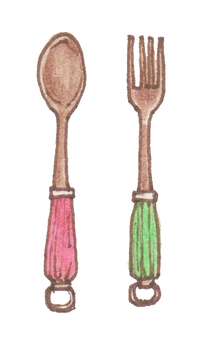 Fork and spoon vitamin color