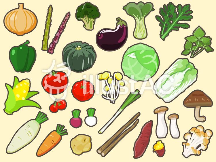 食品-野菜アイコン(縁取りあり)セットのイラスト