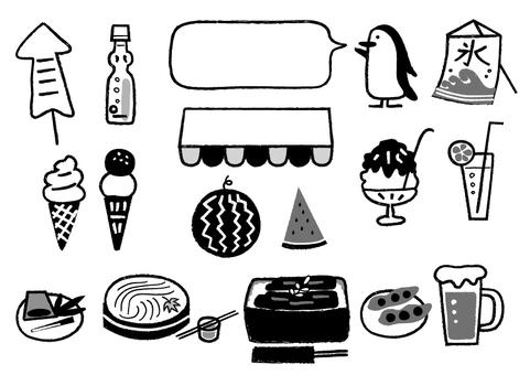 夏の食べ物やさん_モノクロ