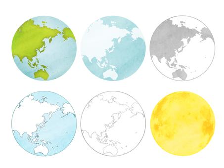 地球セットと月