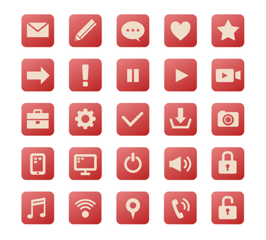Square icon set-red