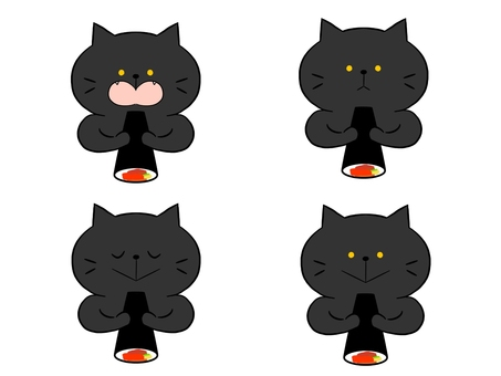 The cat with the Ehomaki, black