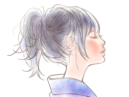 Profile beauty of Japanese clothes