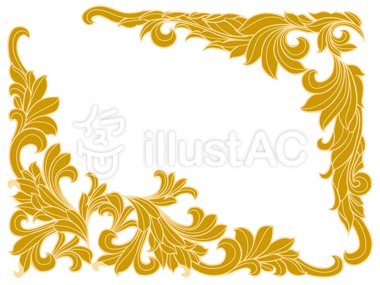 飾り枠 唐草のイラスト